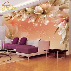 Sob encomenda Da Foto Flor Mural Sala de estar Sofá TV Fundo Papel de parede 3D Moderno Não-tecido Quarto Papel de Parede Natureza murais
