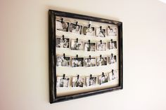 This would be so cute to do with baby photos since there are always so many! Find an old frame at a thrift store, attach string across a few times and use clothes pins or pegs to attach photos in black and white. Super cute!