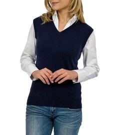 b126eaff13baa Wool Overs Womens Cashmere and Cotton V Neck Slipover Sleeveless Sweater
