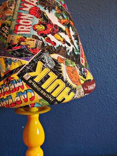 There will be a lot of DIY for Williams nursery. Not many things out there for a superhero nursery!a lamp redo tutorial - A girl and a glue gun Chambre Nolan, Boy Room, Kids Room, Marvel Bedroom, Marvel Nursery, Lamp Redo, Superhero Room, My New Room, Decoration