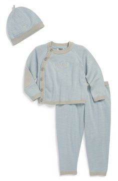 Armani Junior Stripe Sweater, Pants & Hat (Baby Boys) available at #Nordstrom
