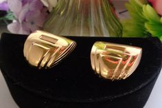 Reduced Vintage Large Givenchy Signed Square Clip-On Earrings. 1 & 1/8th of an inch Tall and Wide. Goldtone Metal by CCCsVintageJewelry on Etsy