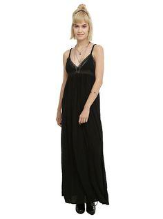 Black Lace Trim Maxi Dress, BLACK