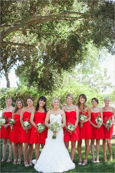 red bridesmaid dresses - love, love, love  @Vanessa Hughes.  Your pictures are even more beautiful. U should post!!!