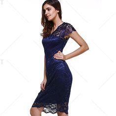 Sweet Short Sleeve V-Neck Women's Lace Dress   TwinkleDeals.com
