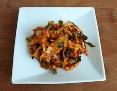 Emergency kimchi  (cabbage, salt, hot pepper flakes, fish sauce, carrot, spring onions)