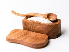 Wooden salt box with small wooden spoon by Woodnfire by WoodnFire, $25.00  This item has been SOLD
