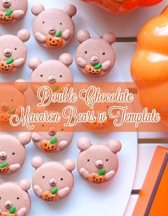Double chocolate bear macarons. Recipe, tutorial and free template on Indulge with Mimi
