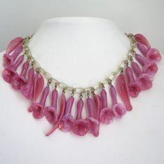 Vtg Celluloid Chain Pate de Verre Blown Pink Glass Flower Dangle Bib Necklace