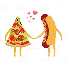 Pizza and hot dog love. Piece of pizza royalty-free stock vector art Pizza Vector, Piece Of Pizza, Sausages, Free Vector Art, Image Now, Dog Love, Murals, Hot Dogs, Royalty