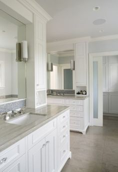 painted face-frame cabinets, mosaic tile, marble counters, frosted glass doors - traditional - bathroom - san francisco - Mueller Nicholls Cabinets and Construction