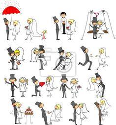 conjunto-de-fotos-de-la-boda-la-novia-y-el-novio-en-el-amor-vector