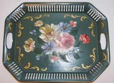 Vintage Hand Painted Large Floral Tole Art/Toleware Metal Serving Tray