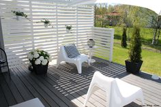B&W Terrace - Home White Home -blog Outdoor Rooms, Outdoor Gardens, Outdoor Living, Outdoor Decor, Garden Dividers, Scandinavian Garden, White Deck, Diy Terrasse, Privacy Screen Outdoor