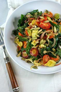 Authentic Suburban Gourmet: Kale Avocado Salad with Smoked Paprika Vinaigrette | Secret Recipe Club