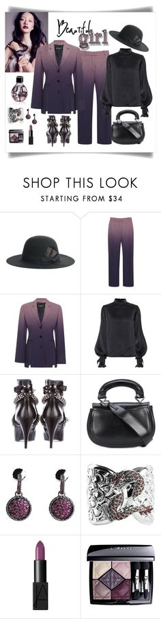 """Versace Degrade Check Blazer Look"" by romaboots-1 ❤ liked on Polyvore featuring Justine Hats, Versace, David Koma, Yves Saint Laurent, Lemaire, John Hardy, NARS Cosmetics, Christian Dior and Jimmy Choo"