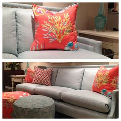 """The concept of using outdoor fabrics inside sounds good ... until you see outdoor fabrics that look, well, outdoor.  Enter fabulous new Sunbrella fabrics exclusive to C.R. Laine in colors specifically designed to work with today's interiors.      I particularly adore the """"Derek"""" fabric in Aqua, but you should see the Coral, Shamrock and Vellum!  The sofa itself is beautifully accented with nailhead trim. MOMs, this sofa is safe from sticky fingers!  C.R. Laine (310 N. Hamilton, 2nd floor)…"""