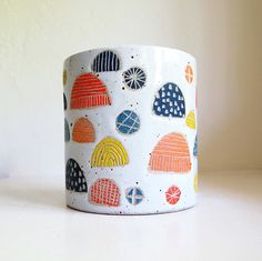"""CERAMIC JELLYFISH CANISTER from Jen E. ceramics (4.5"""" wide and 5"""" tall)."""