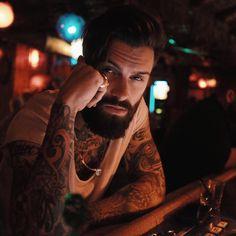 Levi Stocke - full thick beard mustache beards bearded man men mens' style tattoos tattooed handsome #beardsforever