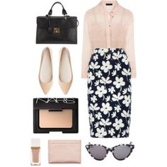 printed skirt outfit