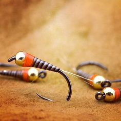 Orange spotted micro Frenchie  *It is a micro nymph for trout and grayling used in fly fishing competitions.  #troutline #nymphs #flyfishing #flyfishing #nymphing