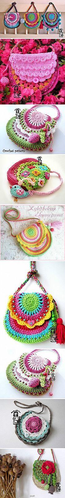 Cute crochet purses for the girls. Knit Or Crochet, Crochet For Kids, Crochet Crafts, Yarn Crafts, Crochet Stitches, Crochet Ideas, Blanket Crochet, Crochet Handbags, Captain Hook