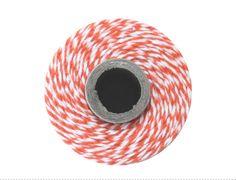 10 m Baker twine coton Orange et blanc - Ficelle colorée - Fil décoration - Cordon