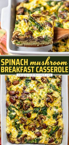 This breakfast casserole is a crowd-pleaser! Made with spinach, mushrooms, and goat cheese, this vegetarian egg casserole is hearty, filling, and full of flavor. The perfect Mother's Day brunch idea!
