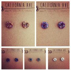 Resin Druzy Earrings 10mm by CaliforniaAve on Etsy https://www.etsy.com/listing/212321657/resin-druzy-earrings-10mm
