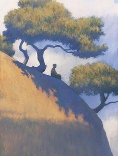 "Gianni De Conno (Italy, 1957 - Book cover illustration for Italo Calvino: ""The path to the nest of spiders"" 2014 Art And Illustration, Illustrations, Painting Inspiration, Art Inspo, Arte Disney, Wow Art, Art Plastique, Aesthetic Art, Landscape Art"