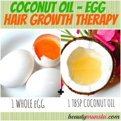 Top 5 Coconut Oil Hair Mask Recipes for Luscious Hair - beautymunsta - free natural beauty hacks and more! Eggs are super rich in protein & sulphur - two powerful ingredients for faster, thicker and longer hair growth. Guys, you gotta try this mask! Egg Hair Growth, Coconut Oil Hair Growth, Hair Mask For Growth, Coconut Oil Hair Mask, Hair Growth Treatment, Hair Growth Tips, Faster Hair Growth, Quick Hair Growth, Hair Treatments