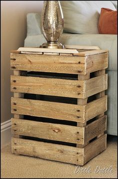Pallet-Side-Table---Crate-side-Table to go with the pallet coffee table. I would stain it darker! Pallet Crates, Old Pallets, Wooden Pallets, Pallet Wood, Pallet Shelves, Pallet Benches, Pallet Cabinet, Pallet Couch, Pallet Bar