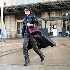 """632 Likes, 11 Comments - New York Times Fashion (@nytimesfashion) on Instagram: """"En gare: Catherine Baba @catherinebaba in a black leather trench and boots at the Gare de Lyon.…"""""""