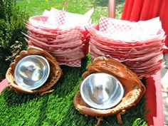 cute idea for serving baseball party snacks