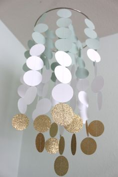 Mint, White and Gold Paper Chandelier Mobile