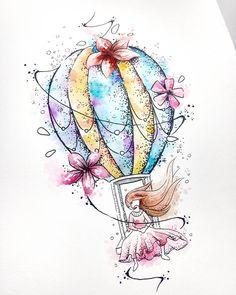 ARTE DISPONÍVEL para tattoo galera. Para Quem curte viagens, tanto de lugares físicos quanto viagens filosoficas/sonhadoras  Corra na bio, e chama no whatsapp antes que peguem. Bjão Mini Tattoos, Love Tattoos, Body Art Tattoos, Small Tattoos, Arte Ganesha, Free Spirit Tattoo, Inner Elbow Tattoos, Pretty Tattoos For Women, Balloon Tattoo