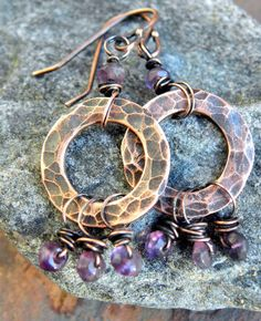 Subtle Violet Antiqued Copper and Amethyst by ThePurpleLilyDesigns, $19.50