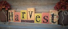 Fall Decorations-Fall Decor-Fall Wood Blocks-Thanksgiving Decor-Rustic Country Fall Decorative Blocks-Harvest Blessings-Christian Decor