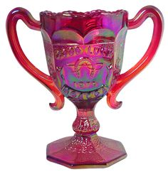 """Fenton Art Glass Red Carnival Glass Two Handled """"Good Luck"""" Loving Cup from 1979   eBay"""
