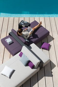 Outdoor Lounger KUMO By Manutti. Modular Sofa Concept. Airy Design.  Lounging. Pool