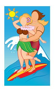 Surfer Couple Photo Face Cutout       This Surfer Couple Photo Face Cutout is great for your Luau themed party, display or production!  Stand behind the prop fo...