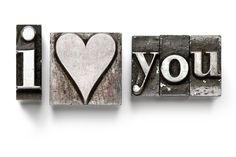 I Love You in Letterpress Type Wall Mural | EazyWallz