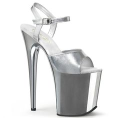 Hot For Heels And More - Pleaser Silver Metallic PU And Silver Chrome - Ankle strap sandal with chrome plated platform bottom. High Heels Boots, Sexy High Heels, Platform High Heels, Ankle Straps, Ankle Strap Sandals, Shoes Heels, Pole Dance, Pink Beige, Plateau Heels