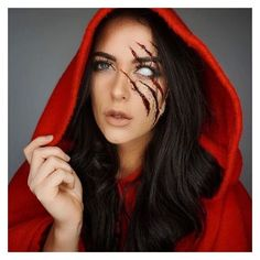 Halloween makeup --little red riding hood | See more about Red Riding Hood, Hoods and Little Red.