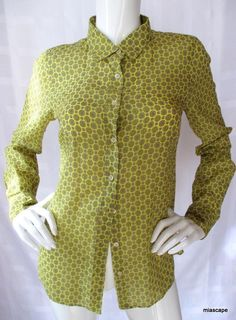 J CREW 'Perfect Shirt' Yellow Print Silk Cotton 4 ~ LS Button Front Blouse Top  | eBay