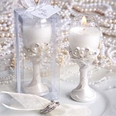 As Low As $2.24 Wedding Favors Add regal designs, glowing white tones, the sophistication of pearls and the glamor of diamonds to your celebration when you use Diamond and Pearls Wine Glass Candle Holders as an addition to your table decor and as a classy and unique event favor for your guests to take with them.