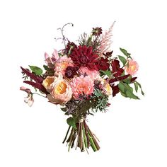 An oh so chic bouquet of Clematises, garden roses, amaranthus, scabiosa, dahlias, astilbes, acacia, and chocolate cosmos. #memorymakerdjs #weddingbouquet #weddingentertainment