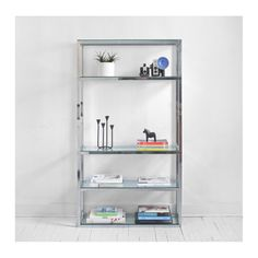 Fancy Chrome Metal Shelving Unit Design Inspiration with Rectangular Shape and Clear Glass Shelves in Four Levels Idea for Bookshelves and Display Shelves