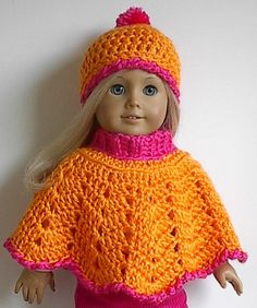 American Girl Doll Crocheted Poncho and Hat in by Lavenderlore