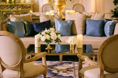 See more of Allie Williams and Matt Slocum's Catholic wedding ceremony and ballroom reception with a blue and gold color palette in Washington, DC! Wedding Lounge, Our Wedding, Wedding Reception, Reception Decorations, Table Decorations, Gold Color Palettes, Catholic Wedding, Floral Event Design, Blue Pillows